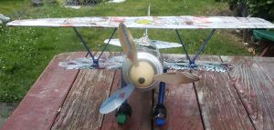 Soda Can Biplane front view by aldosart