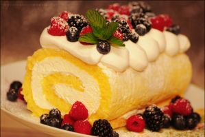 Lemon Roll Cake w/ Berries and Whipped Cream by asainemuri