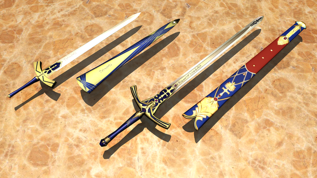 MikuMikuDance Accessory - Excalibur and Caliburn by Gadgeteer61