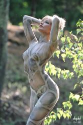 Stone Statue in Gold Forest by DavidGold
