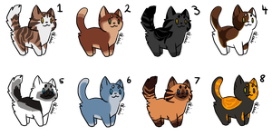 Cat adoptables! Prices are lowered! [6/8 Open] by Kiwithewatermelon