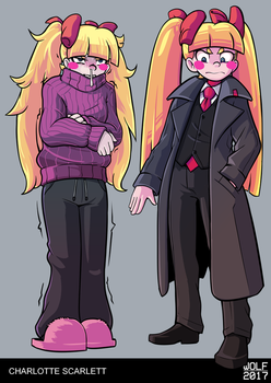 Freezing Charlotte and Charlotte with Coat by BlackboltLonewolf