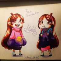 Fav Sweater Mabel inktober by HezuNeutral