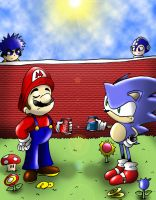 Mario vs. Sonic -Soda Battle- by Rokku-D