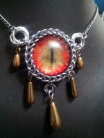 Fire eye mobius Drop necklace by BacktoEarthCreations
