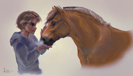 A boy and his horse by Roiuky