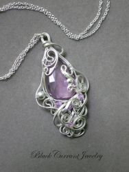 Lavender Amethyst Teardrop with Sterling Silver by blackcurrantjewelry