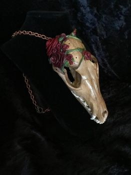 Rose and Tea Fox Skull (Scented!) by TheSilverCaribou