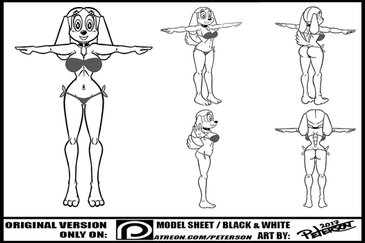 ANIMATION BRANDY HARRINGTON MODEL SHEET - BW by PetersonArt