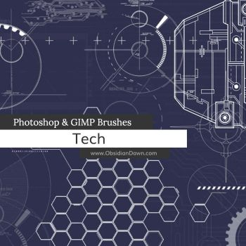 Tech Photoshop and GIMP Brushes by redheadstock