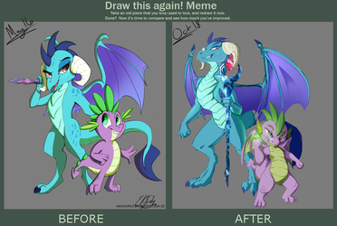 Redraw Meme: Spike and Ember 2018 by Elicitie