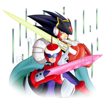 Rockman.exe - Twin Leaders (Speed Painting Link) by Arumakan