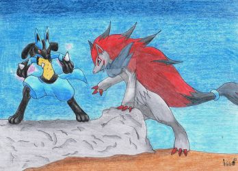 Lucario vs Zoroark by Issura