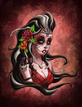 Sugar Skull Girl Dahlia by hooksnfangs