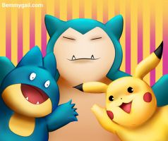 Selfie with Snorlax Munchlax and Pikachu