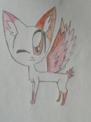 Orange/pink winged cat by LollyTheCat