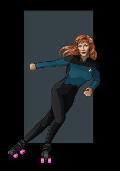 beverly crusher (on roller skates) by nightwing1975
