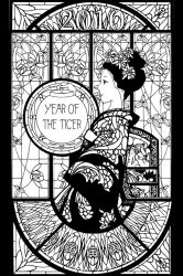 Year of the Tiger Line Art by the-four-treasures