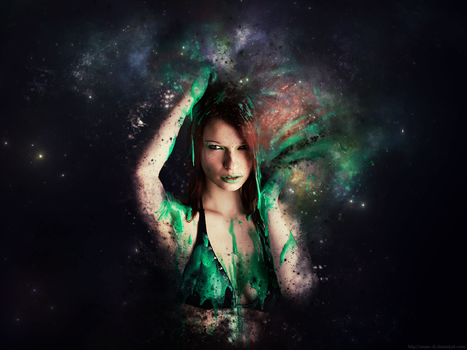 Girl in space - Background by emme-sh