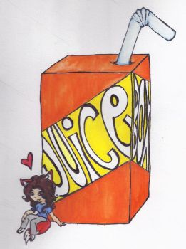 Lady Fox and Her Juice Box by silentcamellia