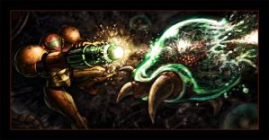 Samus Blasts a Metroid by VegasMike