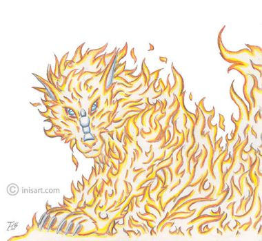 Dragon Fire Flame - Fantasy Animal Art by inisartonline