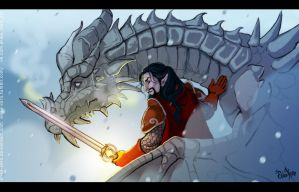 Dovahkiin and Paarthurnax by Erika-Xero
