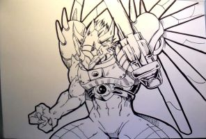 Rizegreymon Inks by MikeES
