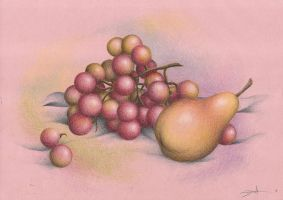 Pear and Grapes by MadMonaLisa