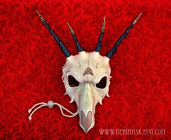 Brass Filigree Leather Dragon Skull by merimask