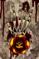 Skeleton Hand and Rose by Vicki-Death