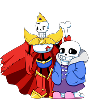 King  Papyrus And Prince Sans by MonsterMena