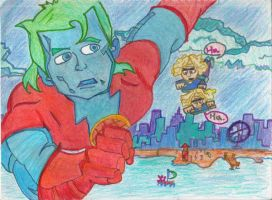 Captain Planet Runs from Twins by Headgotfleas