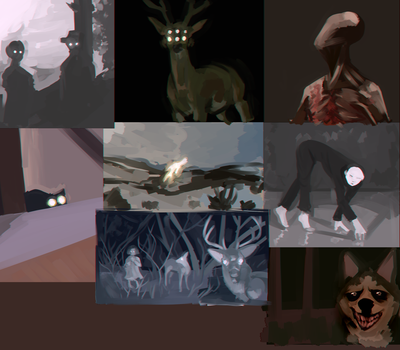 Training painting with some creepy images(?) by NanaDagger