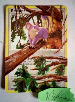 Rattata painted card by Rayquazanera