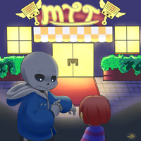 SANS and FRISK at METTATON'S HOTEL by Caguiat233