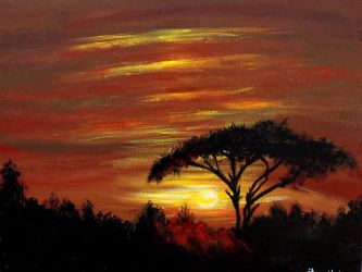 Sunset on the African Plains by ThisArtToBeYours