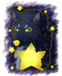 Moon Wolf and Stars by Senbread