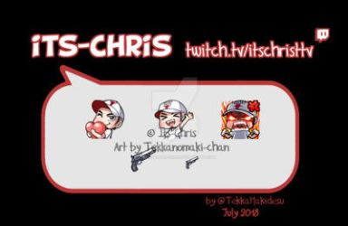 Commission: Twitch Emote and Badge for Its-Chris by TekkanoMaki-chan