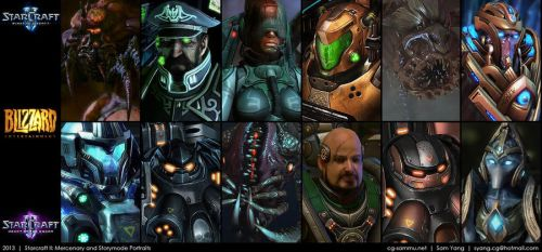 Starcraft II: Mercenary Storymode Portraits 2013 by cg-sammu