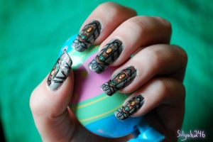 E. Aster Bunnymund Inspired Nail Art by Silyah246