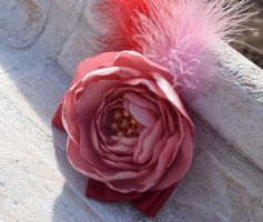 Pink flower hair fascinator/brooch (available) by TheBohoCraftsShoppe