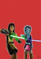 Master and Padawan: Quinlan Vos and Aayla Secura by Giorgia99