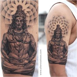 Lord Shiva with Dotwork Tattoo by Sunny Bhanushali by Javagreeen