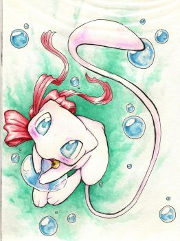 mew with bubble by Black-Wing24