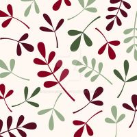 Assorted Leaves Reds Greens Cream by NatPaskell