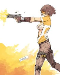 Normal Chick with a Gun by faustsketcher