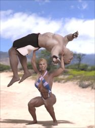 Girl squats guy at the beach: .gif animation 1 by DahriAlGhul