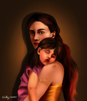 Elia Martell and her daughter Rhaenys by chillyravenart