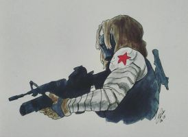 Inktober 20 - Winter Soldier by yuminica